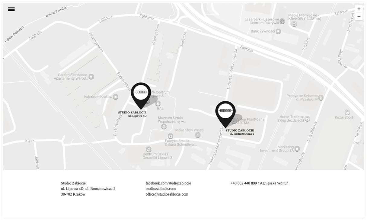 Responsive website with Google map for Studio Zabłocie
