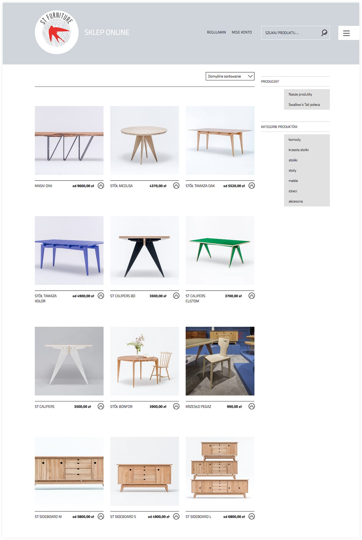 Designers furniture e-commerce and blog